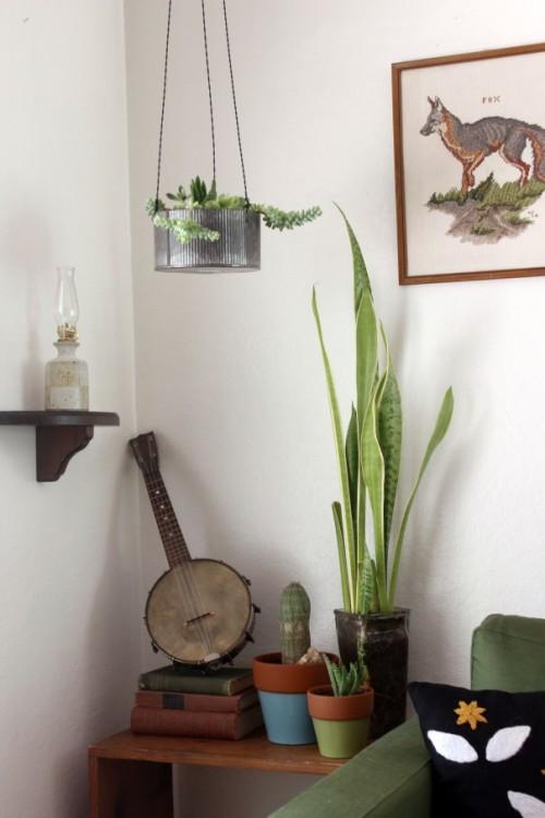 DIY Industrial Hanging Planter Of Metal  Shelterness