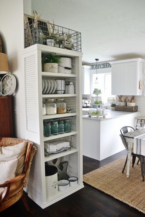 kitchen bookshelf red islands diy with shutter doors shelterness