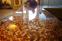 Picture Of how to make a penny countertop