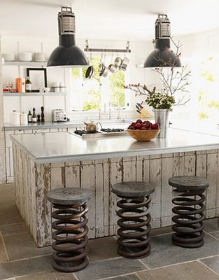 Old wood surfaces with scratched paint works well in industrial interiors.