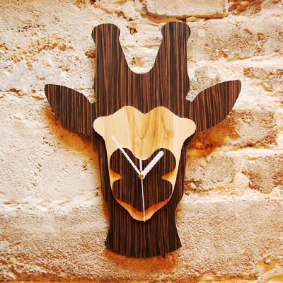 Unique Wooden Wall Clocks Shaped Like Jungle Animal Heads