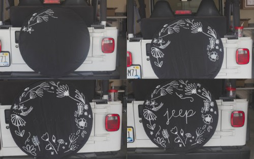 unusual chair covers pottery barn wicker and ottoman patterned diy jeep tire cover - shelterness