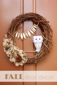 Pretty DIY Fall Owl Wreath - Shelterness