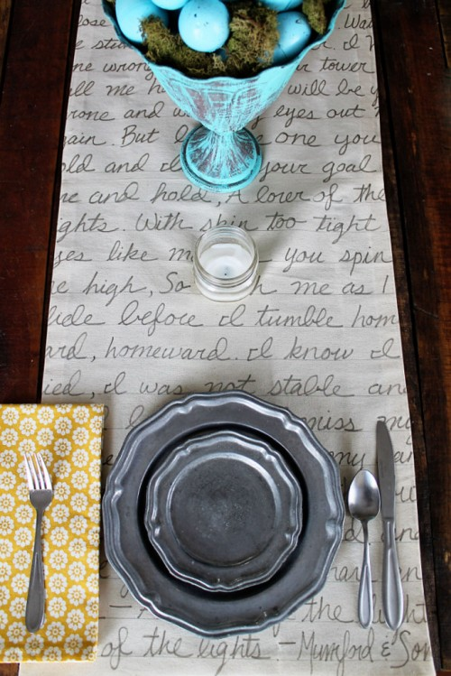Unique DIY Handwritten Table Runner  Shelterness