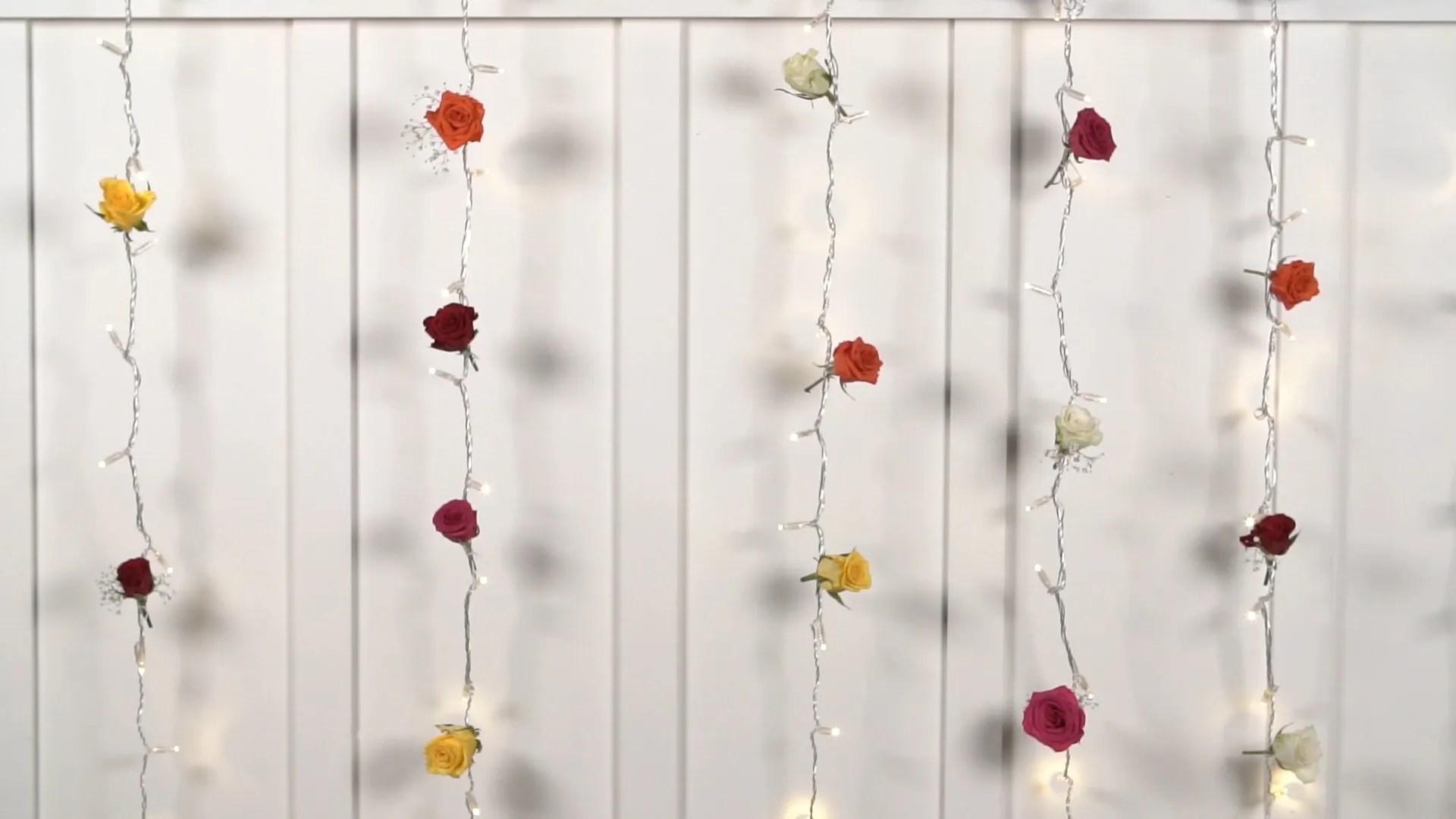 diy curtain light flower wall