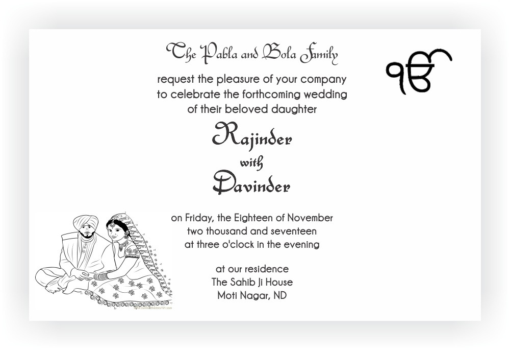 Sikh Wedding Invitation Wordings – CHOCOCRAFT