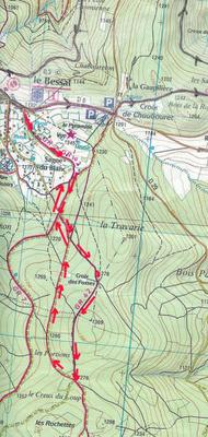 Carte Des Sentiers Du Pilat : carte, sentiers, pilat, Carte, RANDO, BESSAT, ,CREUX, Massif, PILAT