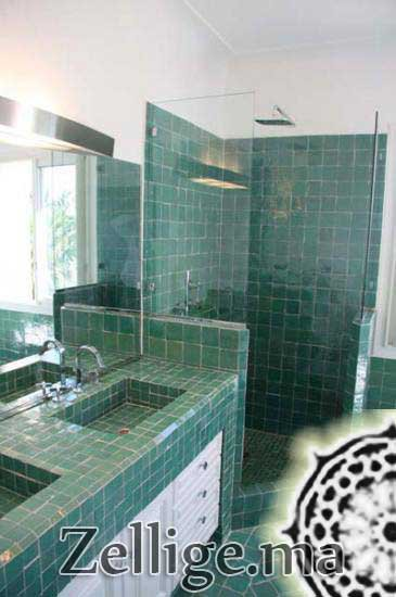 revetement mur salle de bain en zellige