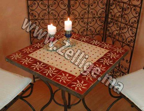 Table En Zellige Carree Avec Pieds En Fer Forge Pas Cher Zellige Marocain