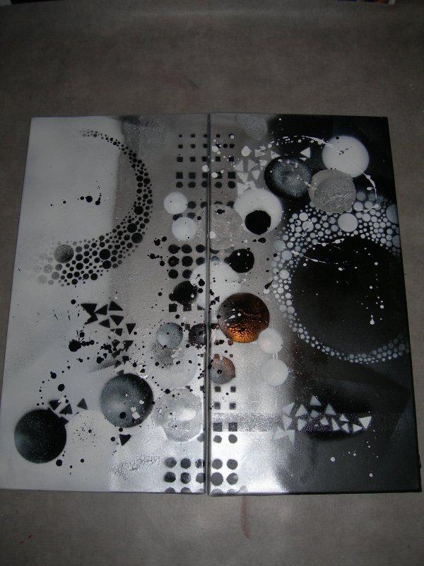 tableau abstrait noir blanc gris