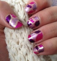 Tuto n2: Nail art design rose/dor/violet