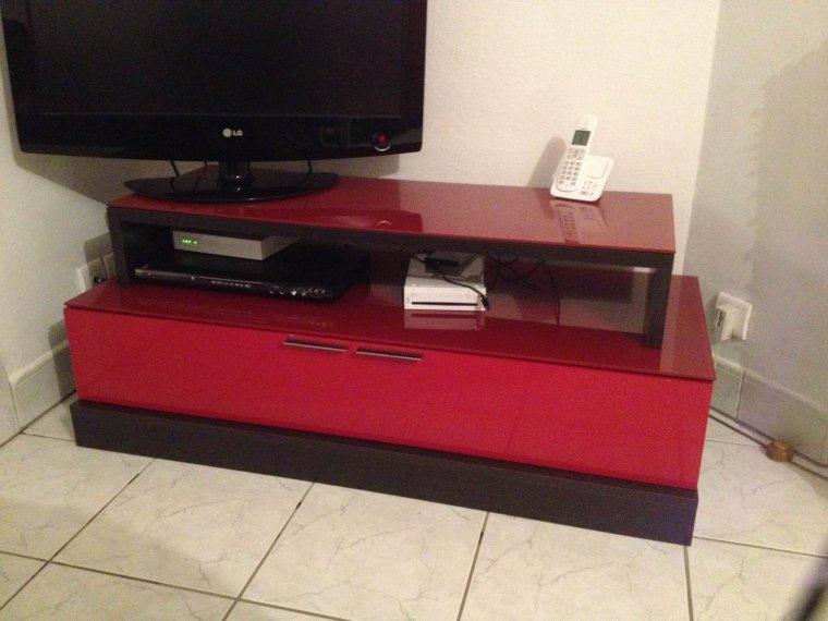 meuble tv laque rouge wenge 180e