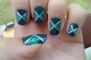 nail art vert paillettes
