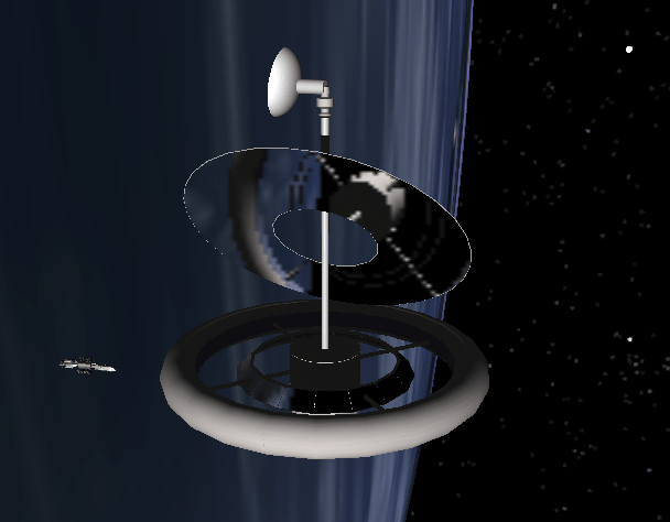 Torus space station with large primary mirror, and transport craft approaching to dock.