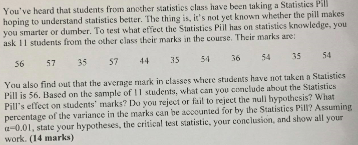 Critical test statistic and percentage of variance