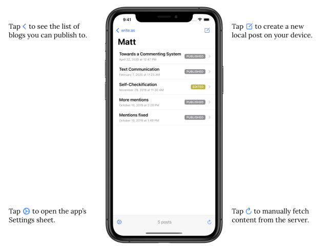 Using the WriteFreely iOS App with Write.as — How to Use Write.as