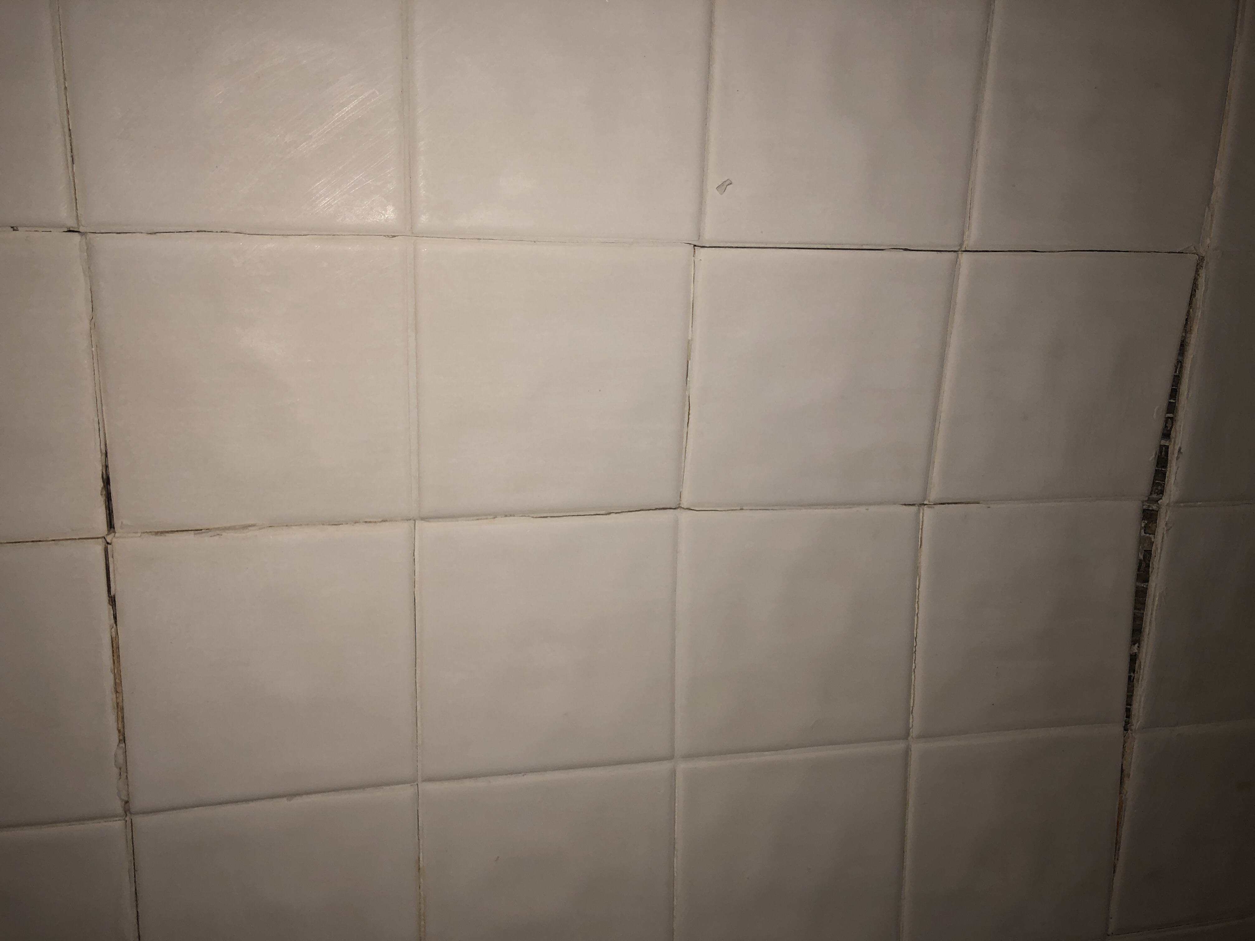 a guest pushed in my shower wall tile