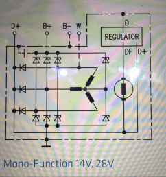 below is a schematic of an alternator generator i understand the rectification going to b but i don t understand why there are 3 diodes going to d  [ 1304 x 1238 Pixel ]