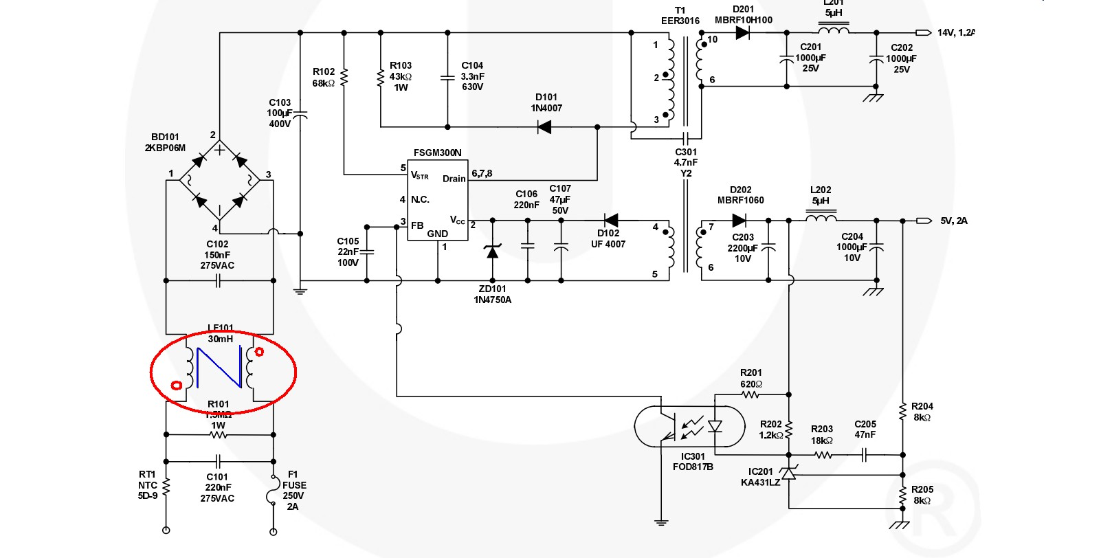 power supply emi filter calculation in a smps electrical