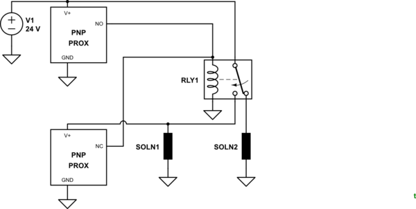 How to wire latching SPDT relay using proximity switches