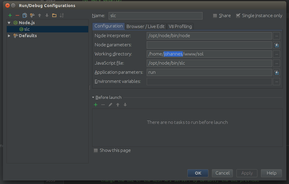 Configuration in WebStorm for Loopback