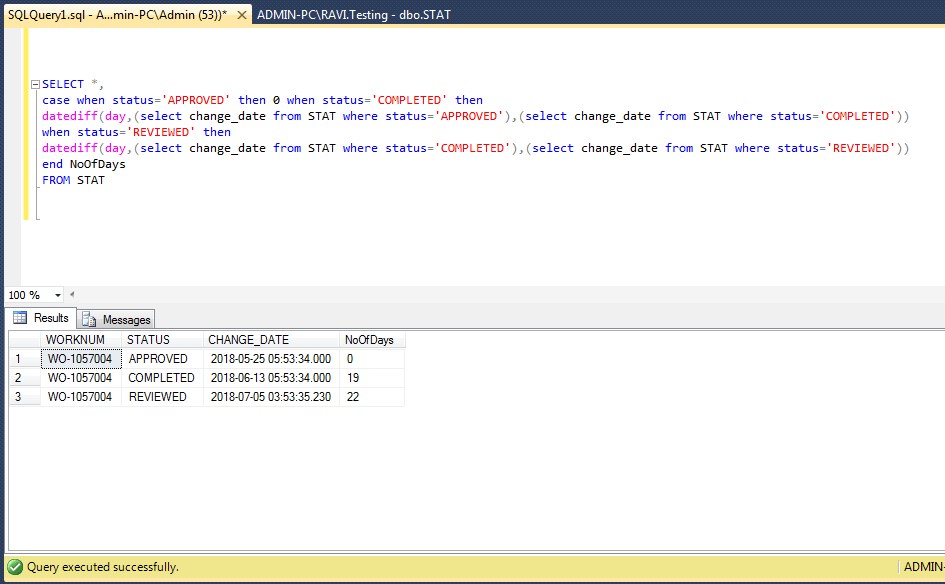 I need to get time difference in days between two date rows of the same record history in SQL Server 2016 - Stack Overflow