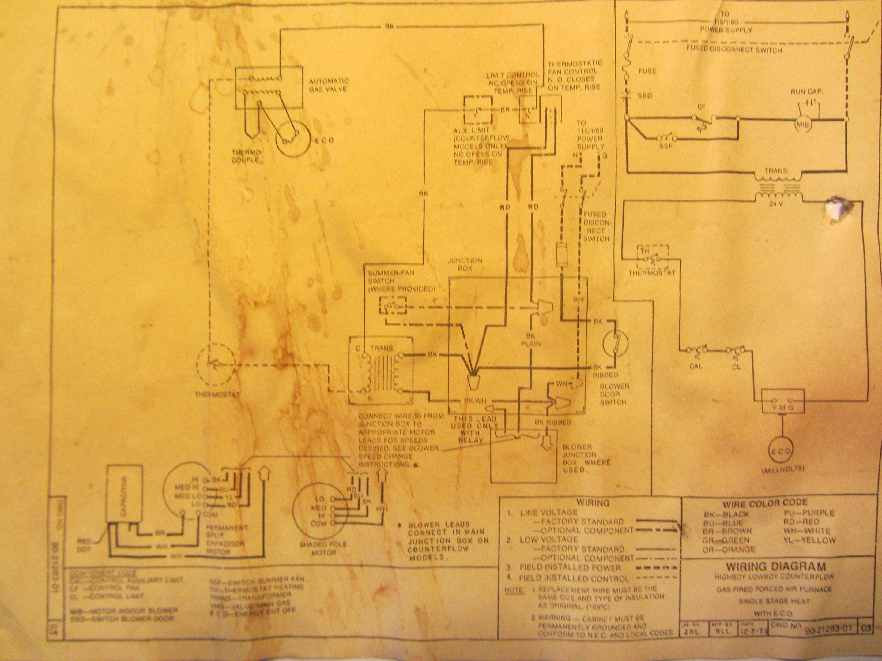 hvac wiring diagram thermostat electronic ballast - add a c-wire to 25+ year old rheem furnace home improvement stack exchange