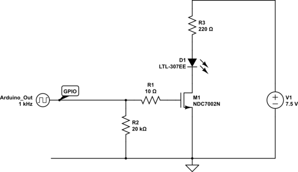 Microcontroller Driven N-Channel MOSFET Voltage