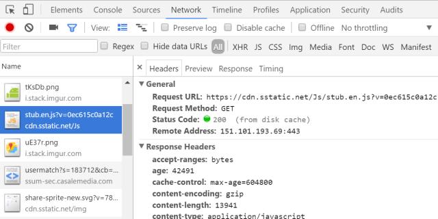 Chrome developer tools headers tab