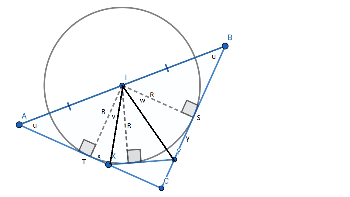 A geometry problem : A circle, centred at $I$ has diameter