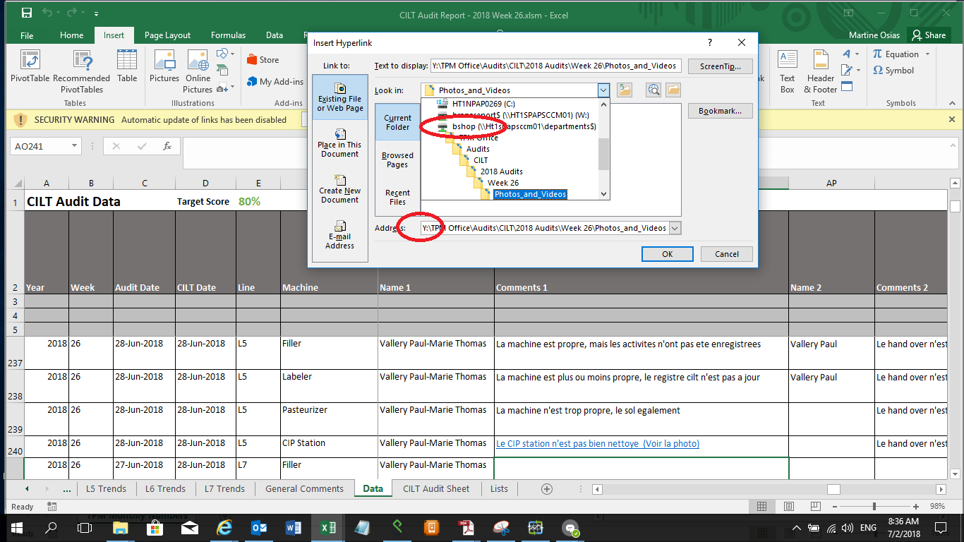 Excel Insert Hyperlink Does Not Put Full Path