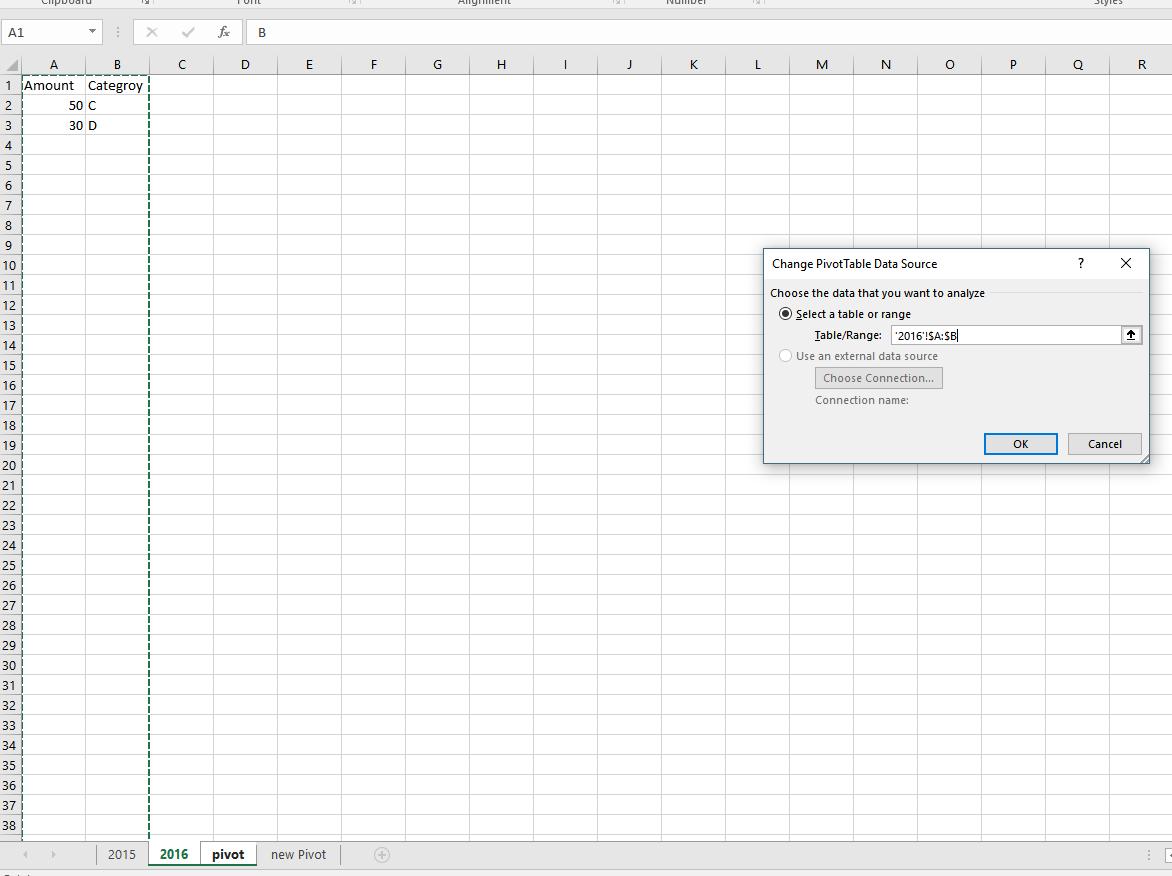 Pivot Table Data Source Change
