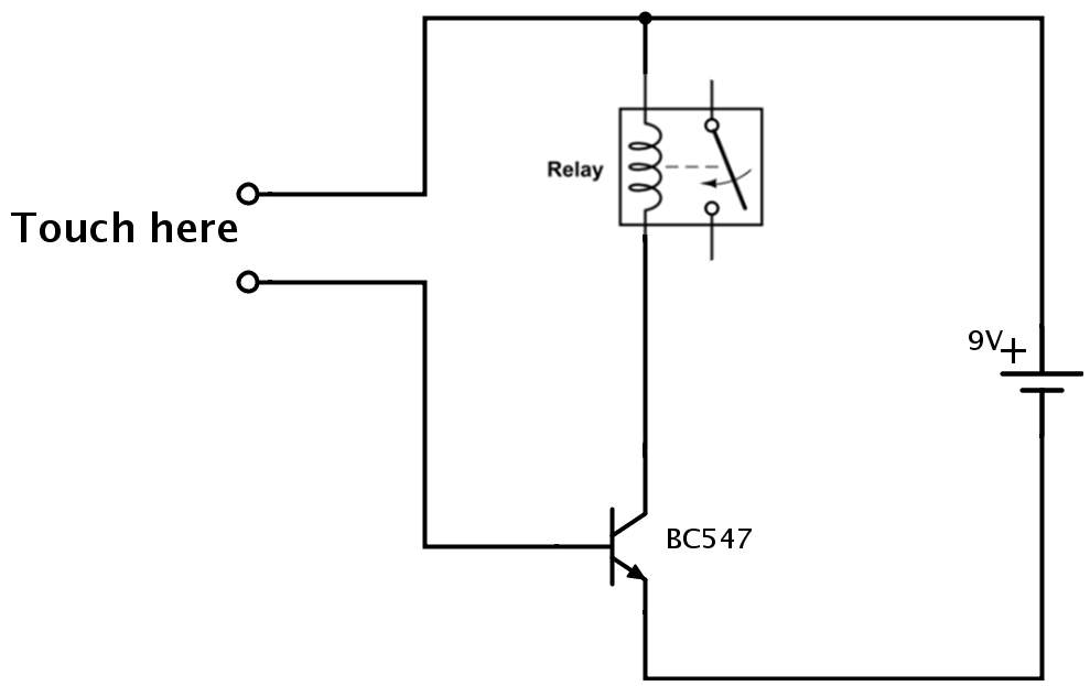 Why does the relay in this touch circuit not work