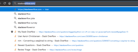 Firefox's suggestions pane, showing a variety of Stack Overflow related links