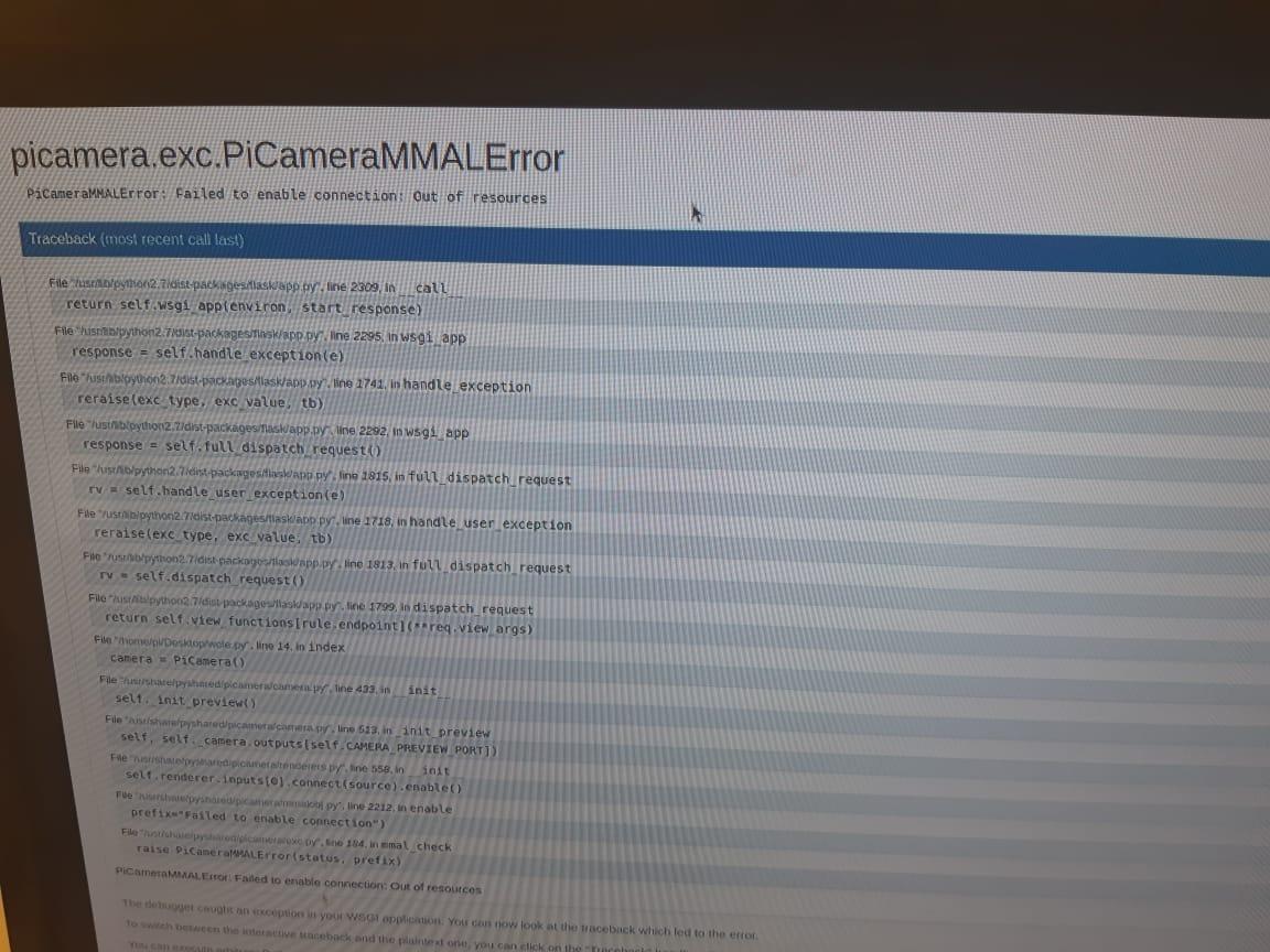preview of crash error returned