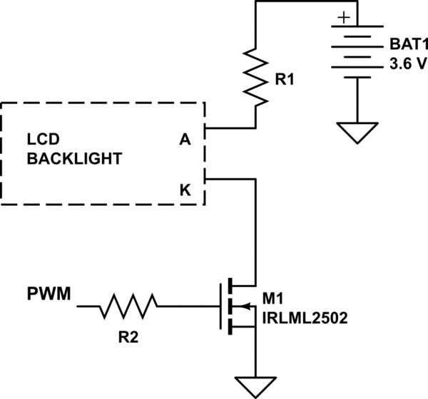 LCD 16x2: circuit to adjust the LCD backlight by a PWM
