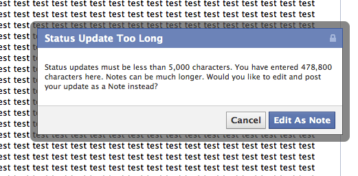 What is the maximum number of characters allowed in Facebook status box? - Web Applications Stack Exchange