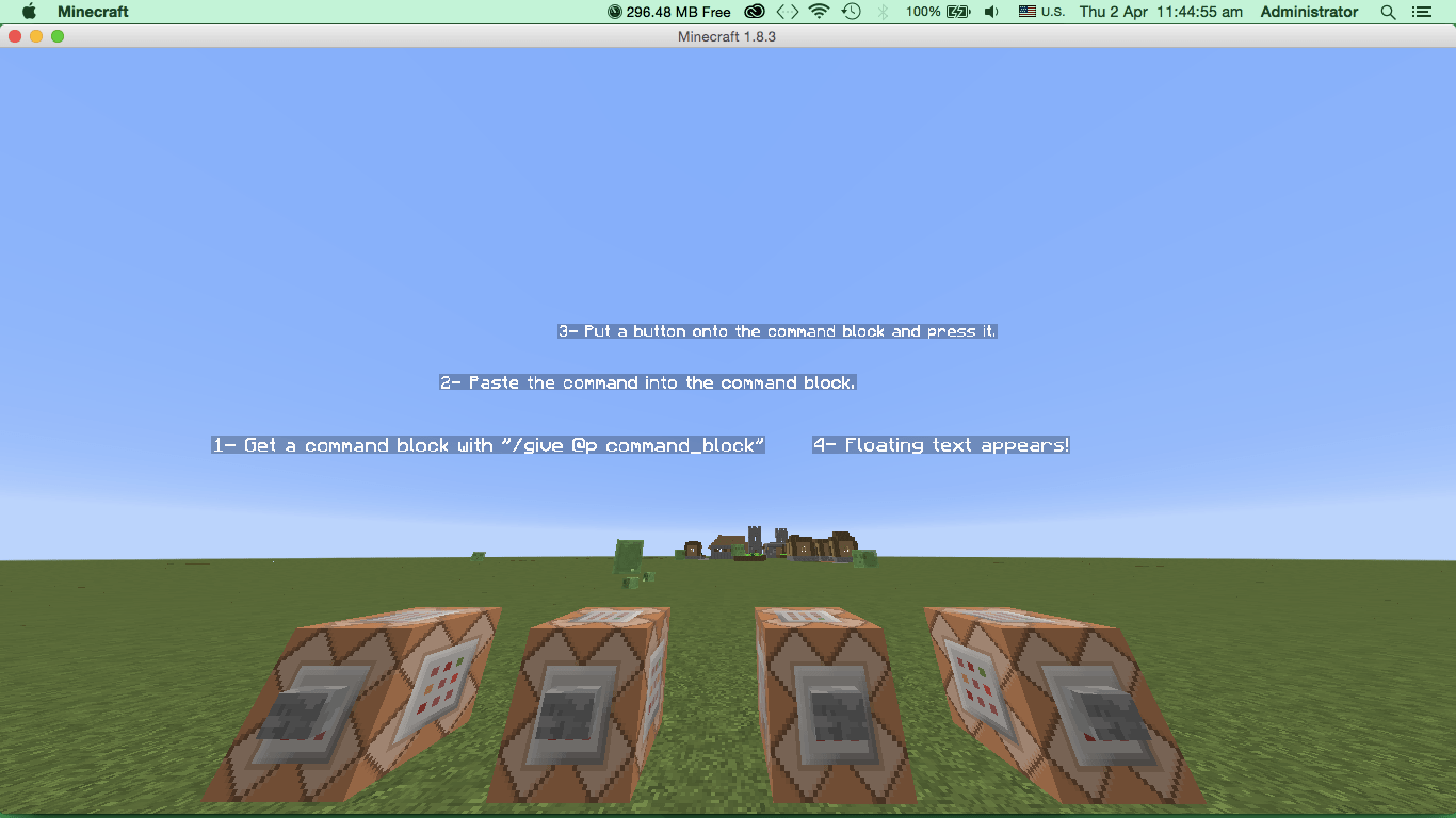 Minecraft How Do I Make Floating Words Arqade