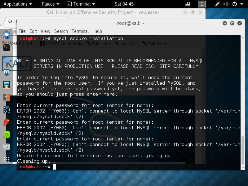 Kali Linux Cant Connect To Local MySQL Server Unix