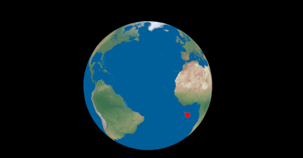 Rendering dots on a globe with correct longitude and