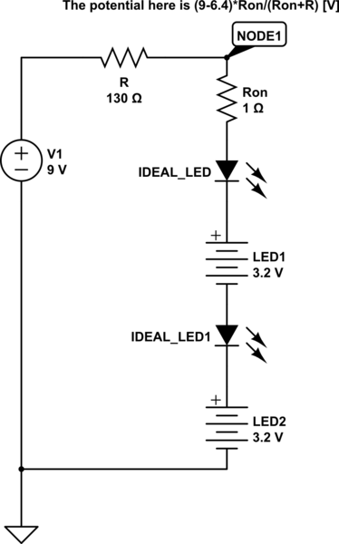 multiple series of leds off one 9v with switches