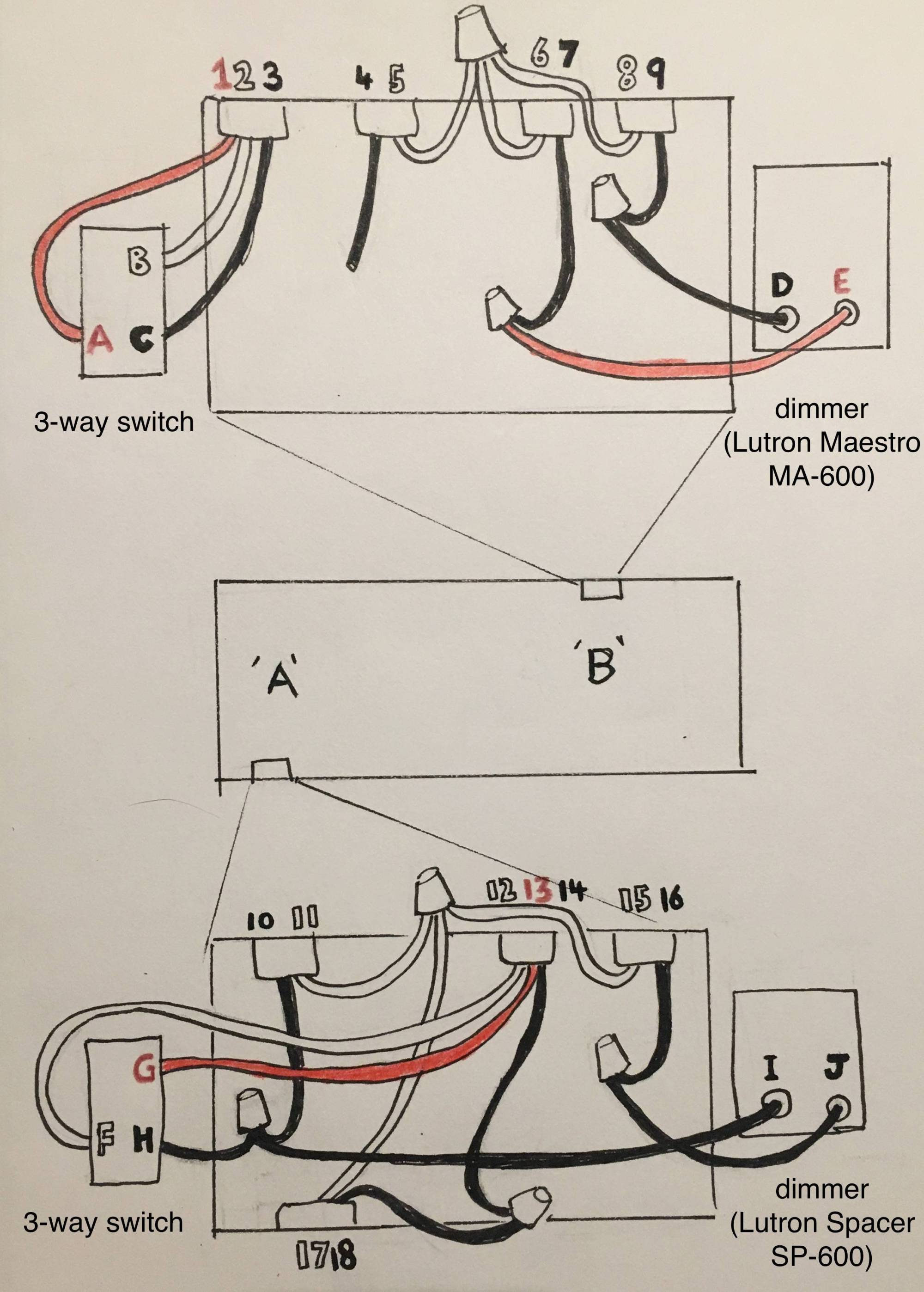 hight resolution of help with wiring new dimmer switches home improvement stack exchange rh diy stackexchange com lutron light switch wiring diagram lutron single pole dimmer