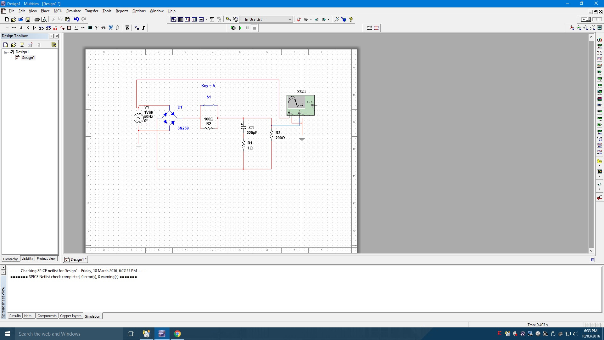 hight resolution of full wave bridge rectifier circuit in multisim