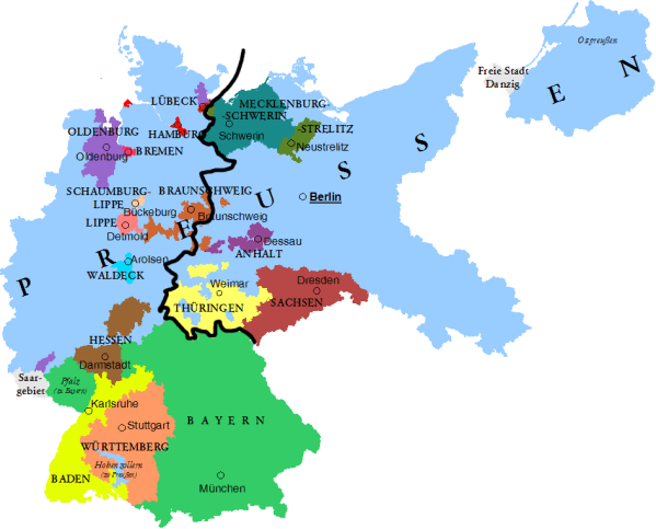 Did the division between East and West Germany coincide