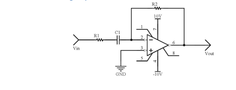 Voltage output waveform of a differentiating amplifier