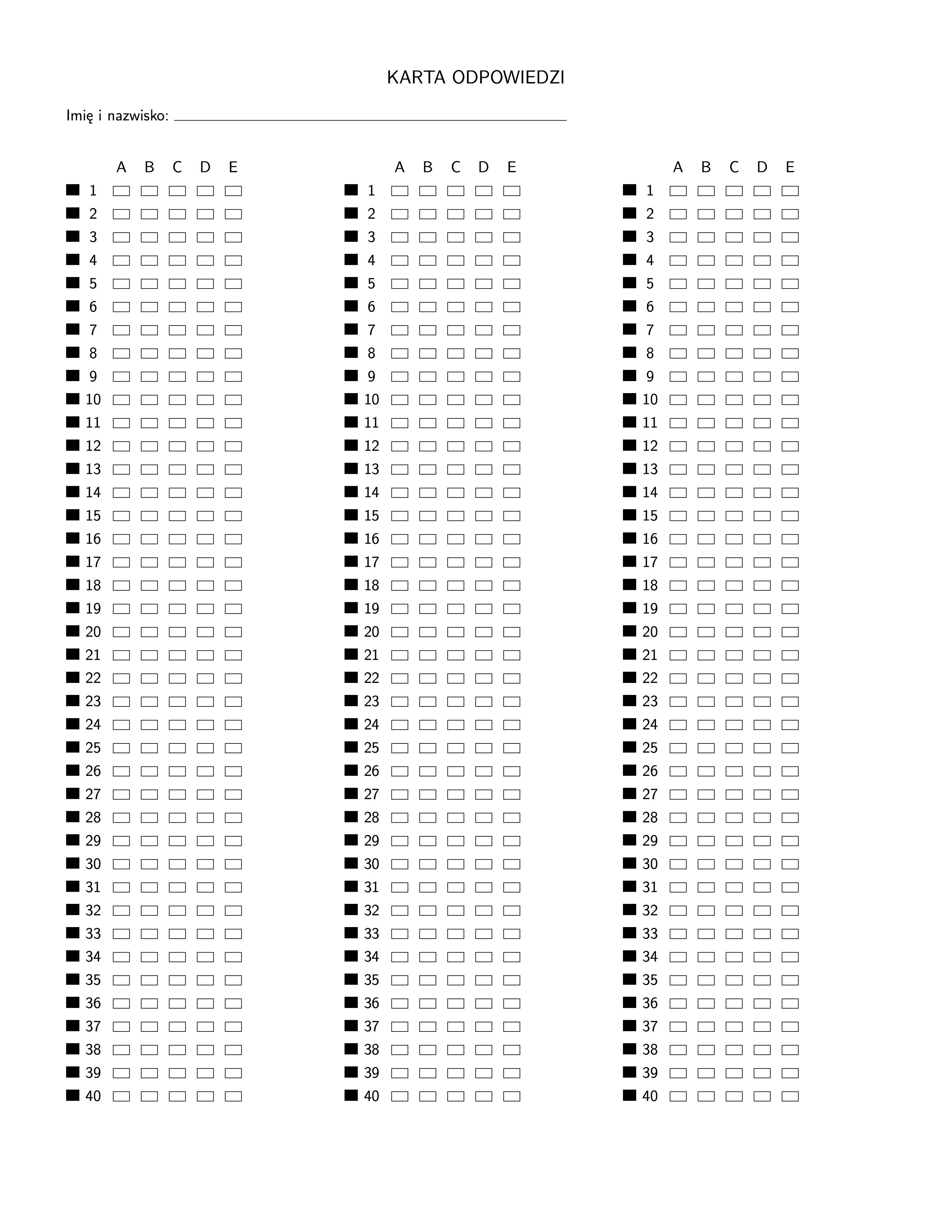 Answer Sheet Template 1 150