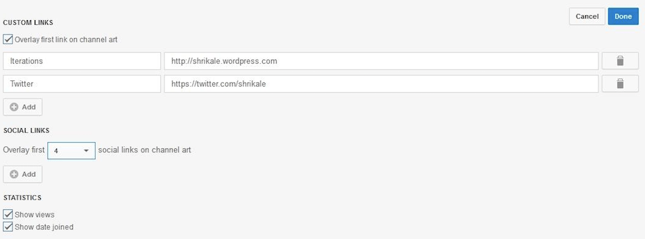 Not able to see social links in YouTube channel backend