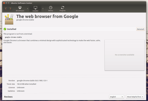 Install Google chrome in Ubuntu Software Center