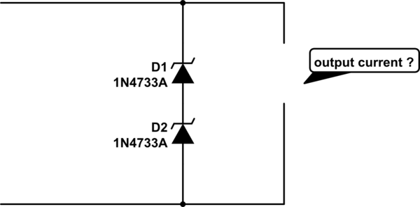 what will happen at output current ? when two zener diode