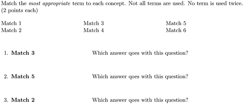 LaTeX using the matching environment in the exam